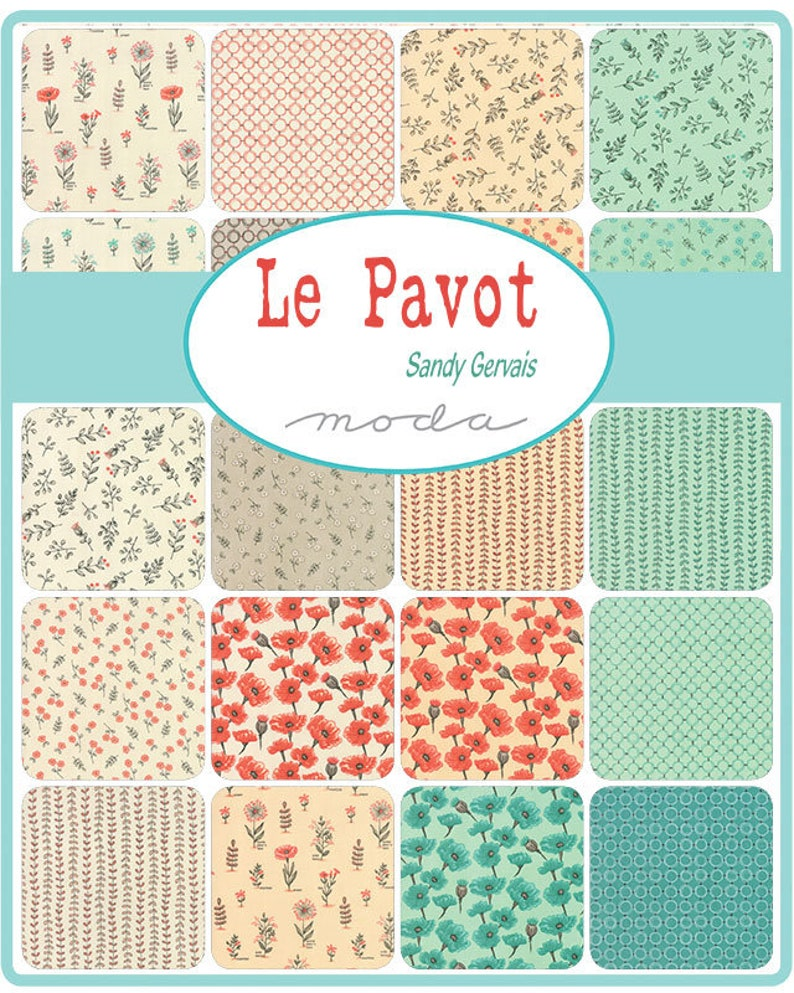 Le Pavot Jelly Roll\u00ae  Moda # 17970JR  40 Piece Assorted pre-cut 2.5 x 44 stripes of fabric Designed by Sandy Gervais
