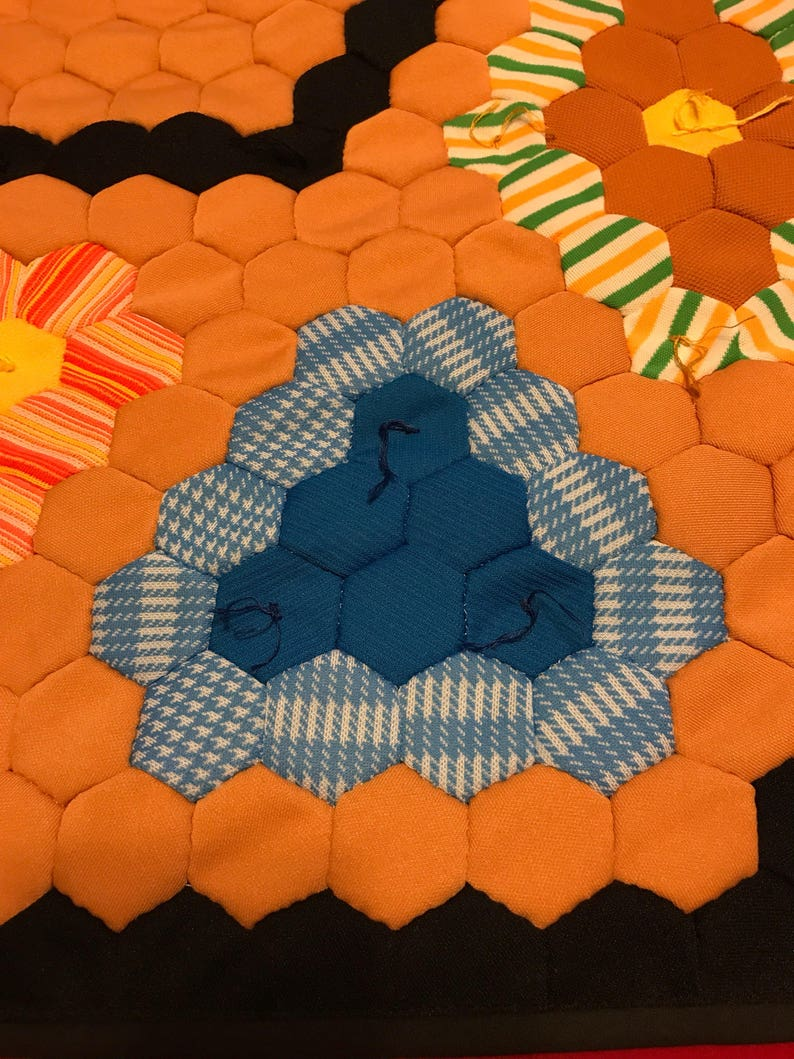 Vintage polyester flower basketgarden quilt top newly quilted with cotton batting and backing lap size 53 wide and 63 long