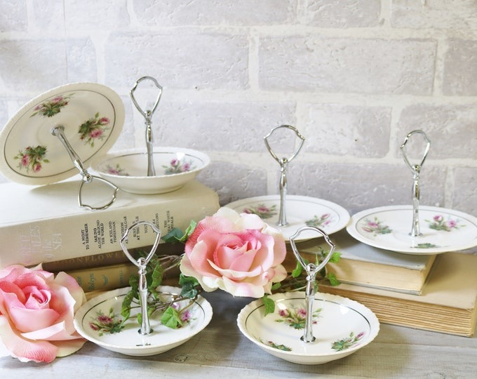 6 handled saucers and bowl dishes jewelry holders centerpieces Ceramic table decor bridesmaid gifts