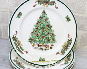 christmas tree dinner plates 10 inch set of 4 johnson brothers victorian christmas made in england staffordshire england