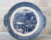 Currier and Ives bowl, Handled Cake Plate, Rocky Mountain scene, blue transferware, dinnerware dishes, Early Winter