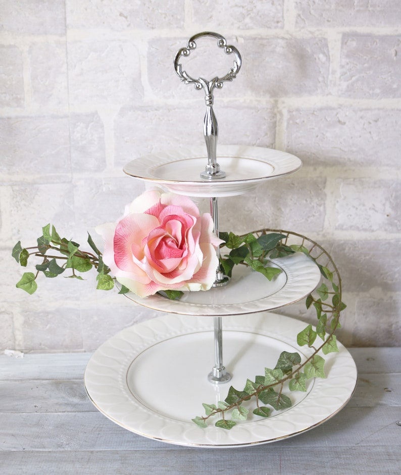 3 tier cake  serving stand with Ultra Heavy Hardware in Silver or Gold