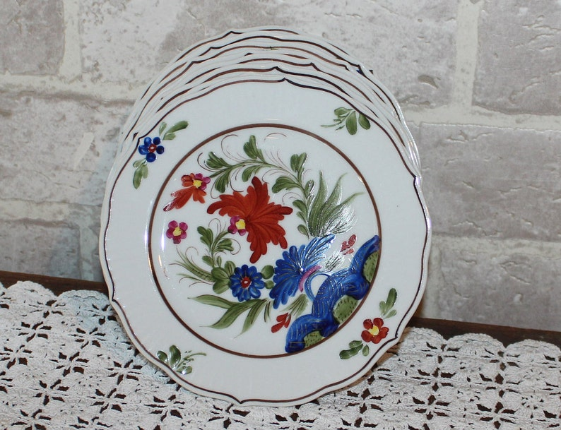 Country Festival dinnerware Japan Colorful Plates Set of 4 small bread and butter plates hand painted Asian dishes,
