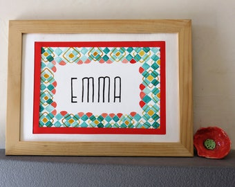 original watercolor, first name, Emma, vintage, retro, graphic