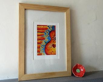 Original watercolor, guitar, orange, Spain, music, flamenco