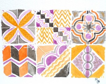 Original watercolor, orange tiles, violet, anthracite, mosaic, azulejo,