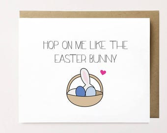 Funny Easter card, Naughty Easter card for boyfriend, Adult Easter card, Easter bunny card, Dirty Easter card for him, Easter card for her