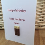 Lego Birthday Card - Lego out for a Beer - Guinness Cheeky Vimto - Special Unique