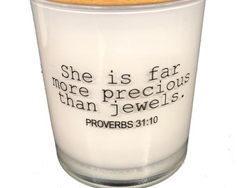 She is Far More Precious Than Jewels - Candle- Mother's Day