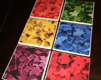 Handmade ceramic tile coasters- Meeples! Boardgame Lovers!