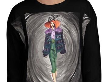 PREORDER Avante Garde Fashion Illustration Black Unisex Sweatshirt / High Fashion Runway Inspired Watercolor Art Graphic Edgy Sweater