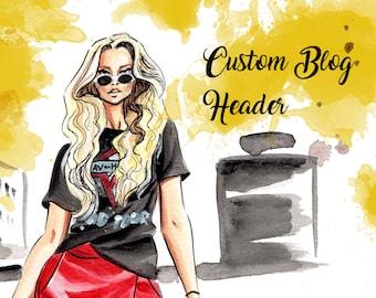 Custom Blog Header Fashion Illustration Drawing / Style Blog Minimalist Self Portrait from Photos / Personalized Website Banner