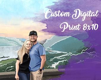 8x10 Canvas Print Custom Digital Art Portrait from Photos (Fashion Illustration)