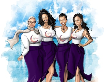 Group Portrait Art of Company Team, Coworkers / Custom Digital Fashion Illustration(Corporate Thank You Card, Annual Celebration, Poster)