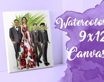 Custom Watercolor Art Canvas 9x12 Painting from Photos (Fashion Illustration)