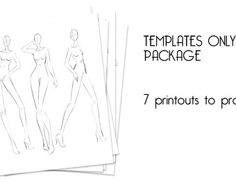 Fashion Illustration Templates For Beginners Instant Download Figures Of Female Croquis Male Kids