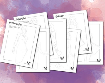 Fashion Illustration Templates Instant Download (Coloring pages, Tracing templates, Fashion croquis, Flare Dress Styles Fashion figures)