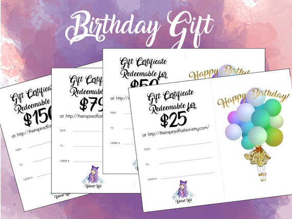 Birthday Gift Card Value 25 Certificate Instant