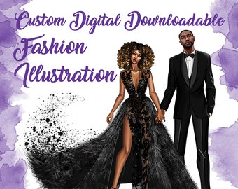 Custom Digital Art Portrait from Photos (Downloadable Only / Printable Any Size / Fashion Illustration)