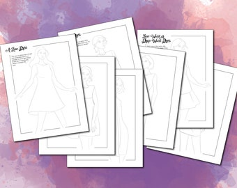 Fashion Illustration Templates Instant Download (Coloring pages, Tracing templates, Fashion croquis, Dress styles Fashion figures)