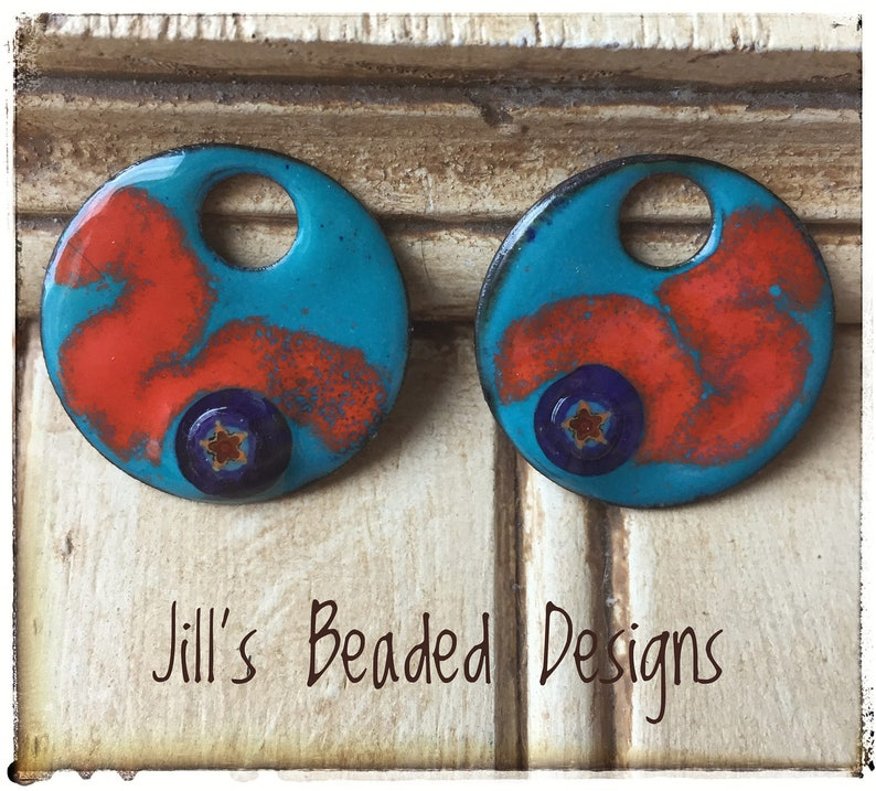 Blowing smoke Murrini Glass Charms Enameled Copper Charms