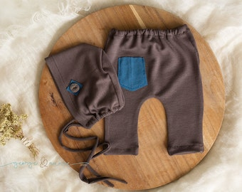 Albert Pant and Bonnet Set - Newborn, Sitter or One Year Baby Boy Pants - Photography Prop