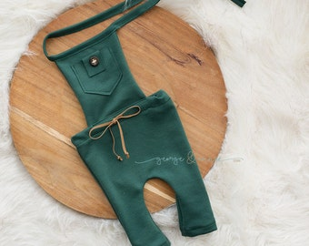 Little Boy Romper - 6-9 Months or 12 Months - Photography Prop - Forest Green