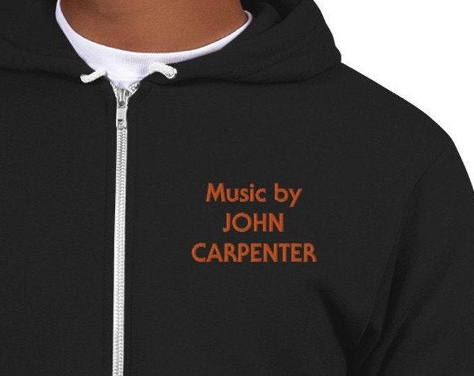 Embroidered Zip Up Hoodie - Music by John Carpenter Horror Movie Merch Joe Bob Briggs Last Drive In Halloween Jamie Lee Curtis