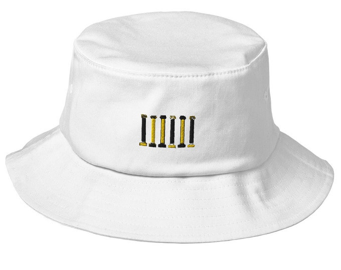 Old School Bucket Hat - Embroidered Mizzou Columns Missouri Black and Gold
