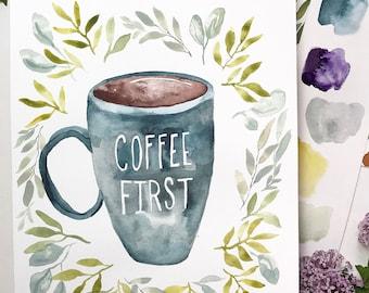 Original, hand-painted COFFEE FIRST mug