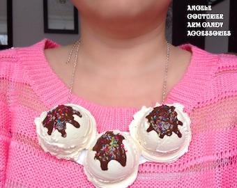 Icecream scoop necklace fake ice cream scoops ice cream cone chocolate sauce sprinkles vanilla ice cream statement necklace food jewelry