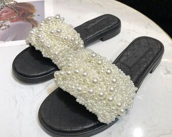 22bb4e0378d New C White Handmade Pearl Style Paris Pearl Sandals Flat Mules Shoes Slides