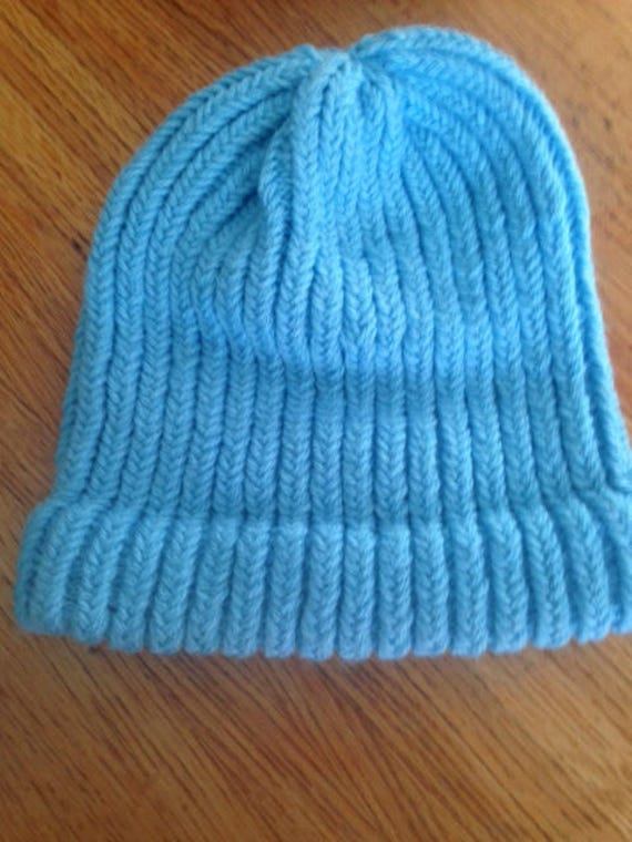 Ocean Blue Hats Knitted Loom Hat Knitted Hat Loom Hat Etsy