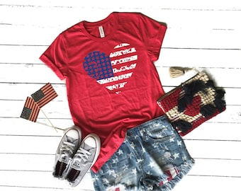 eeb07396c11f Womens Fourth of July American Flag TShirt