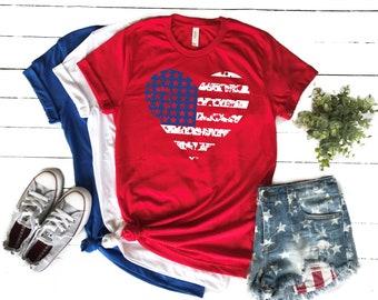 bdf672afb Womens Fourth of July American Flag TShirt, 4th of July Tee, Flag Shirt  Women, Patriotic Shirt, Fourth of July TShirt, Patriotic Tee, UN50T