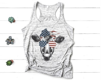 dcc36ddeed983 Patriotic Cow with Bandana Womens Fourth of July Tanks