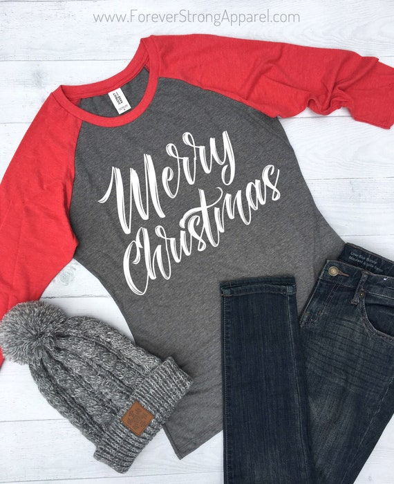 c602bf966a090a Merry Christmas Raglan Shirts for Women Womens Christmas