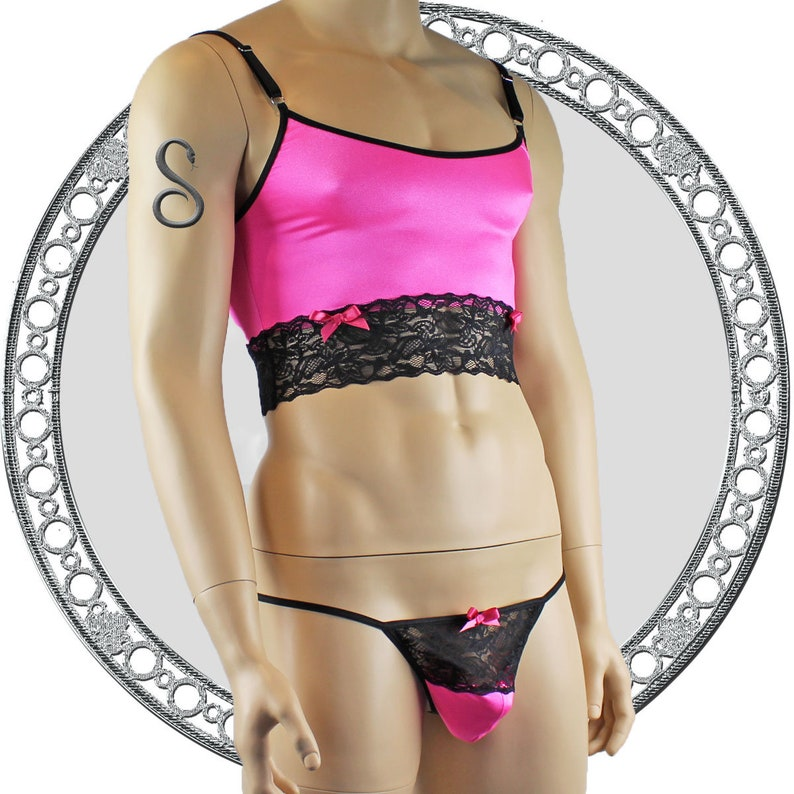 Mens Satin /& Lace Crop Cami Top with Thong Hot Pink and Black