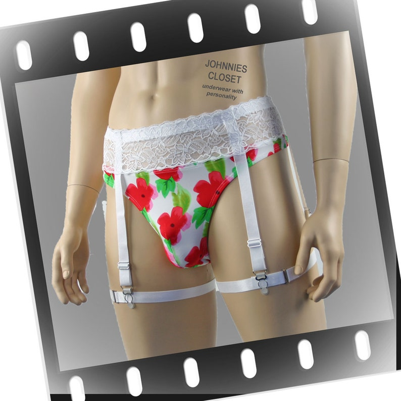 9ee796c220041 Mens Flower Thong and Lace Garterbelt   Straps