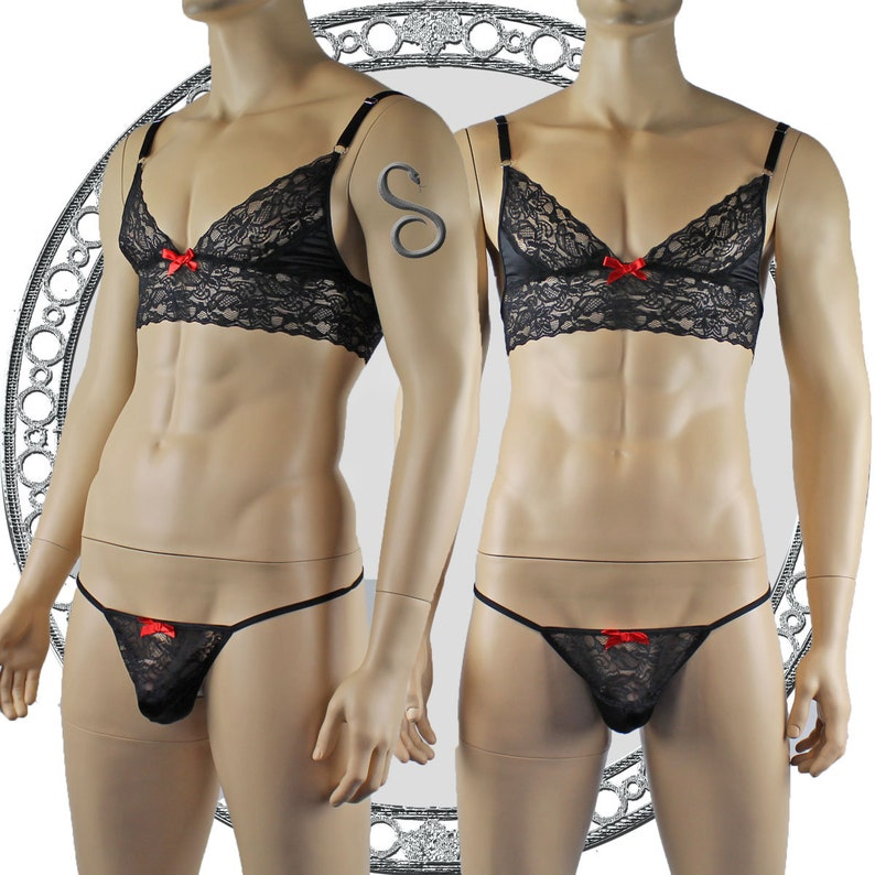 Mens Lace Bra Top Lingerie and Pouch G string for Men Black