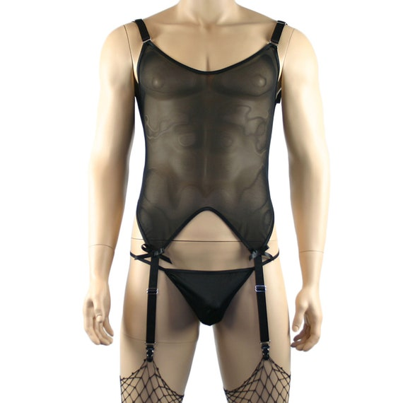 84b3bfb71a4 Mens Corset Top G string   Stockings Black