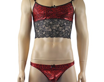 Mens Dazzle Animal Leopard Print Bra Top Camisole and Thong Set Red