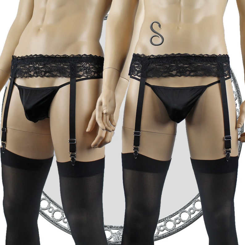 9a950be9734 Mens Lace Garter Belt Lycra G string and Opaque Stockings
