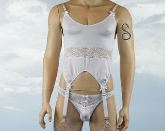 Mens Corset Gartered Top with Lace Front Thong G string White