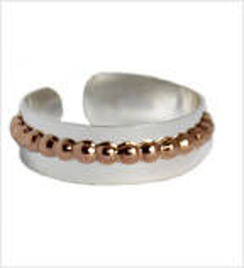 Flat Band with Bee Bee Stripe Adjustable Toe Ring  .925 Sterling Silver and Gold Fill  Cuff Design  One Size Fits All