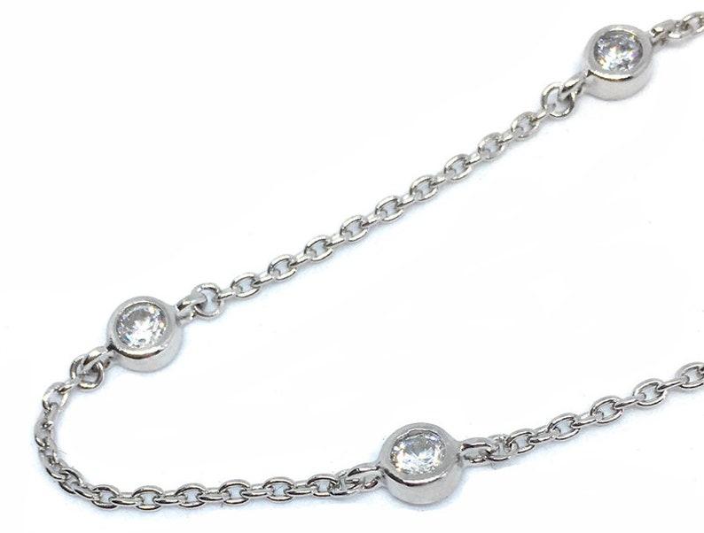 1 Extension CZ Sterling Anklet  Bevel Set 6 Sparkling CZ Stones  .925 Sterling Silver  9