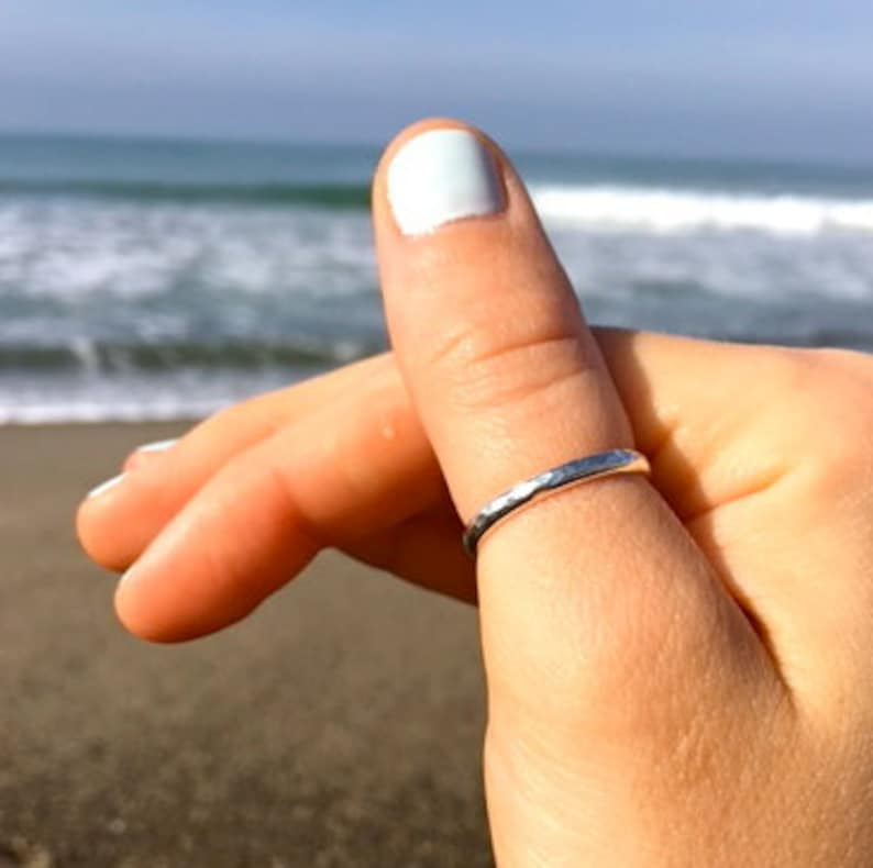 00cf18be58aa2 3mm Thumb Ring Band / Sterling Silver or Gold Fill / Hammered Finish /  Super Comfort