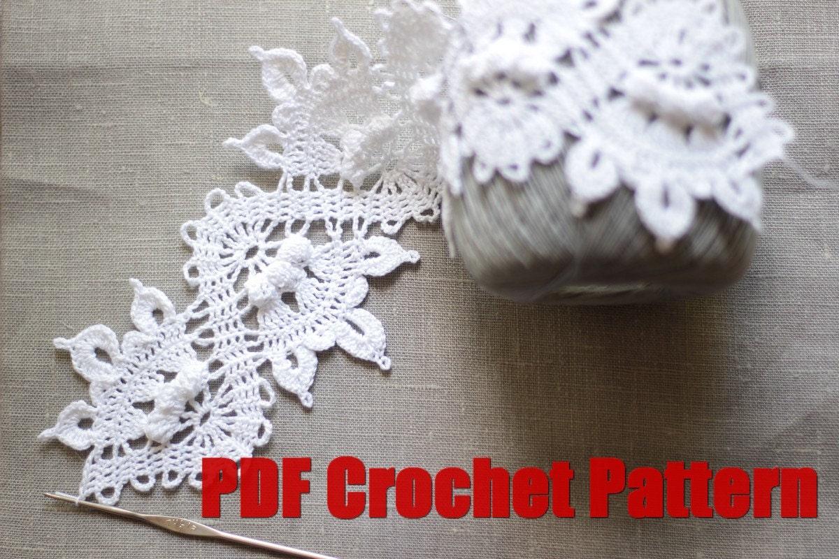 Crochet Pattern Trim Lace Edging Border Diagram Blanket Towel Pillow Wedding Boho Hearband Hand Drown