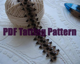 PDF Tatting pattern Bracelet Necklace Hearband Shuttle tatted beaded lace hand made Tatted beaded Handmade bead lace braslet Gift for her