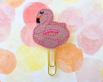 Planner Clip, Pink Flamingo, Glitter Vinyl, Flamingo Floatie, Planner Accessory